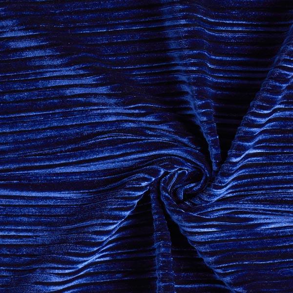 Velours stretch Plis plissés – bleu marine