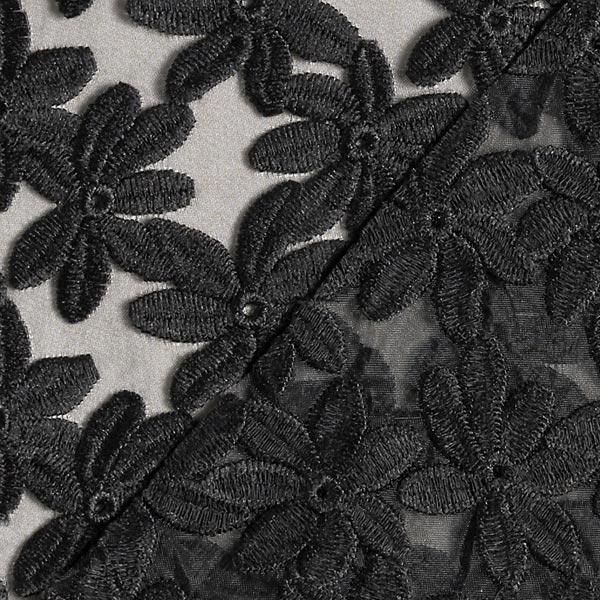 Organza avec bord festonné broderie florale – noir