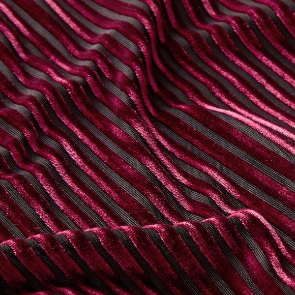 Velours stretch Aspect dévoré – rouge bordeaux