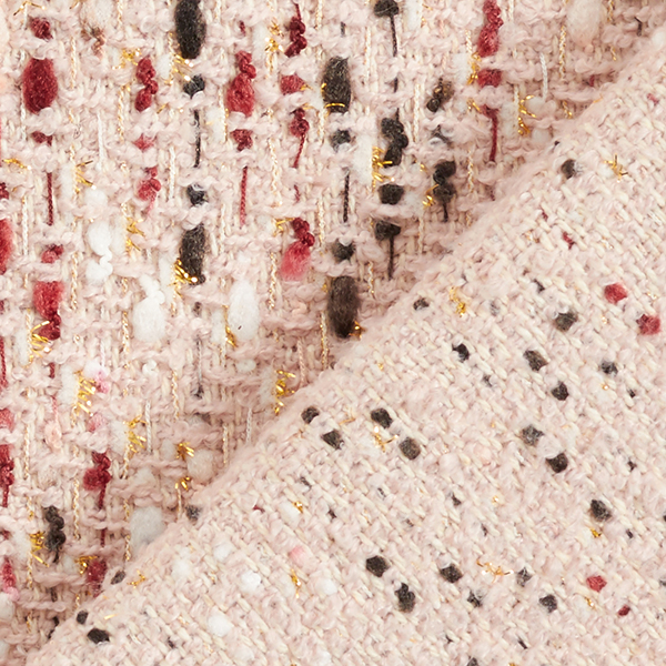 Tissu de manteau bouclé effet lurex – rose