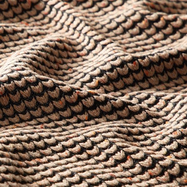 Tissu maille mailles grossières tweed – noir/beige
