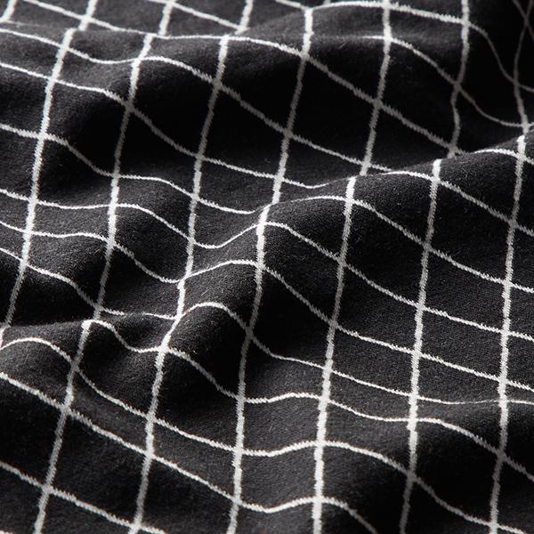 Jacquard jersey tissu motif losanges chiné – noir