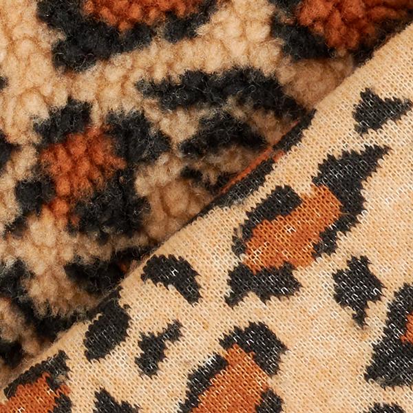 Tissu peluche motif léopard – beige/caramel