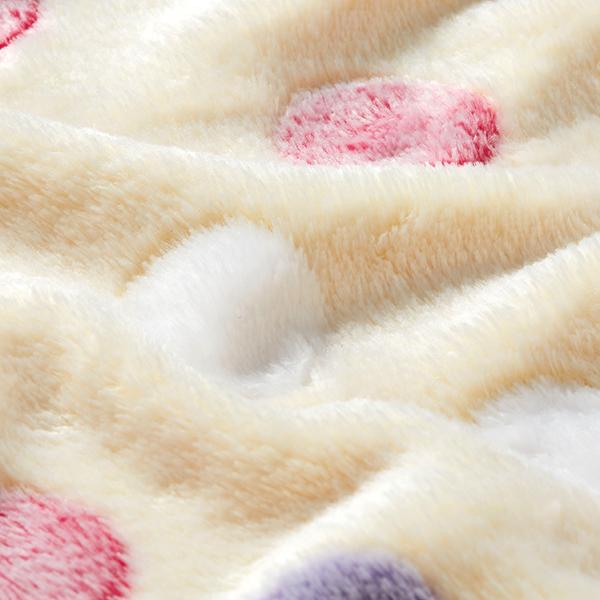 Polaire douillet points de couleur 4 cm – crème