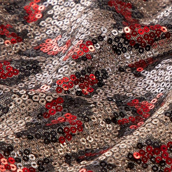 Tissu à paillettes scintillantes métallisées animal – argent ancien/rouge