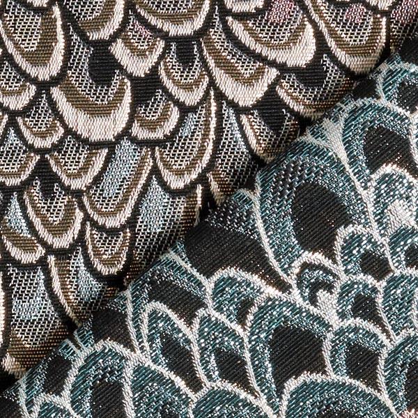 Brocart plumes de paon – bleu clair/or