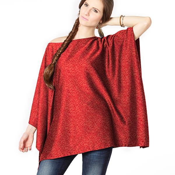 Tissu pour chemisier Jacquard Fleurs abstraites – rouge
