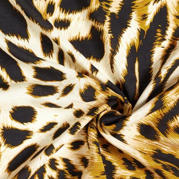 Tissu de chemisier Viscose animal le plus sauvage – noir/moutarde