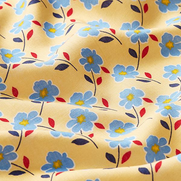 Tissu pour chemisier Viscose Impression florale – jaune/bleu clair