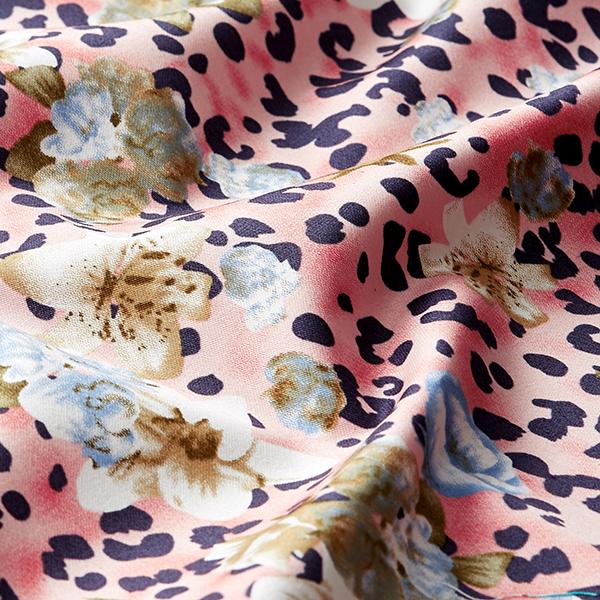 Hosenstretch Baumwollsatin Leoprint & Blüten – rosa/hellblau