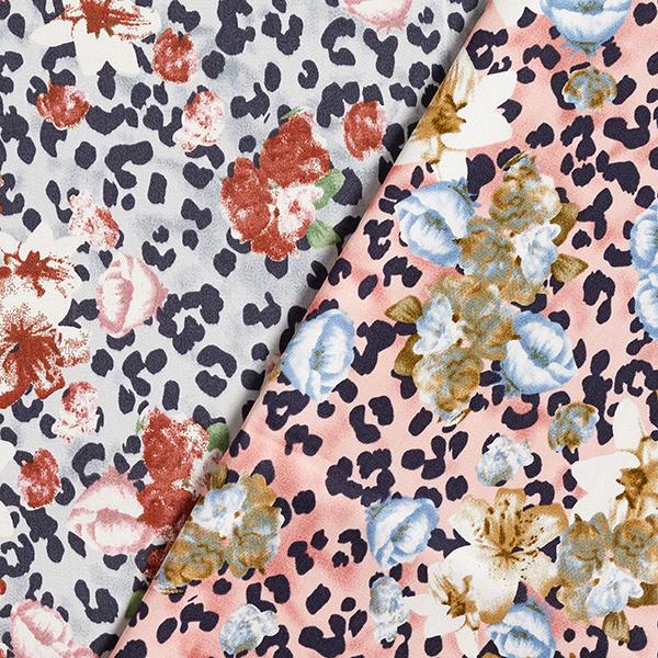 Stretch pour pantalon Satin de coton Imprimé léopard & Fleurs – gris clair/rouge rouille