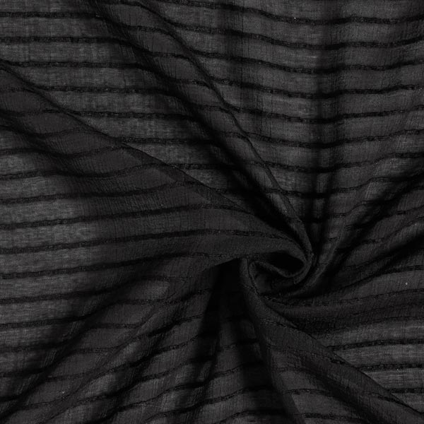 Tissu pour chemisier rayures horizontales stretch – noir