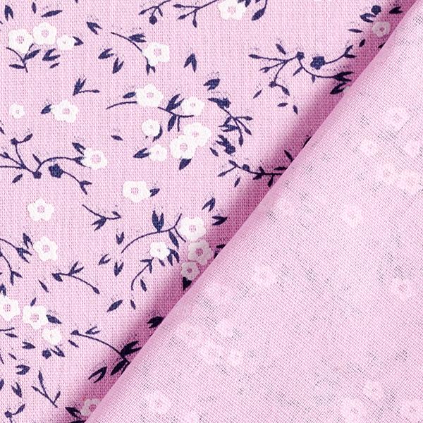 Blusenstoff Baumwoll-Leinen-Mix Puff-Print Blütenzweige – rosa