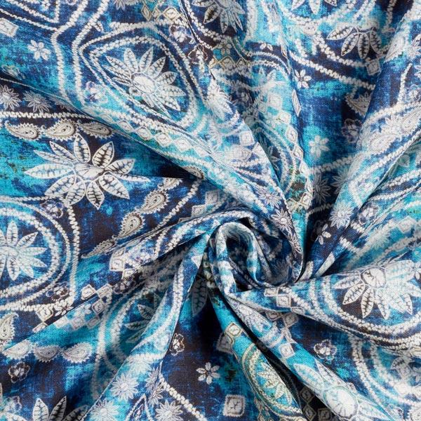 Lyocell en viscose avec teneur en lin Batik oriental – bleu