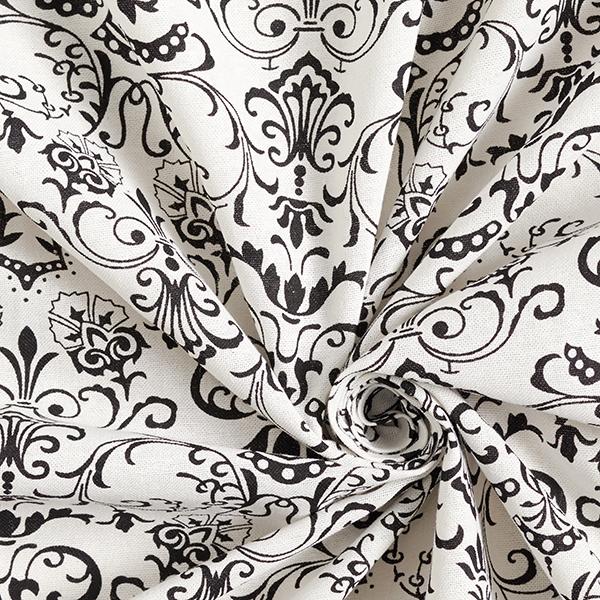 Tissu pour chemisier Mélange coton lin Ornements – écru/noir