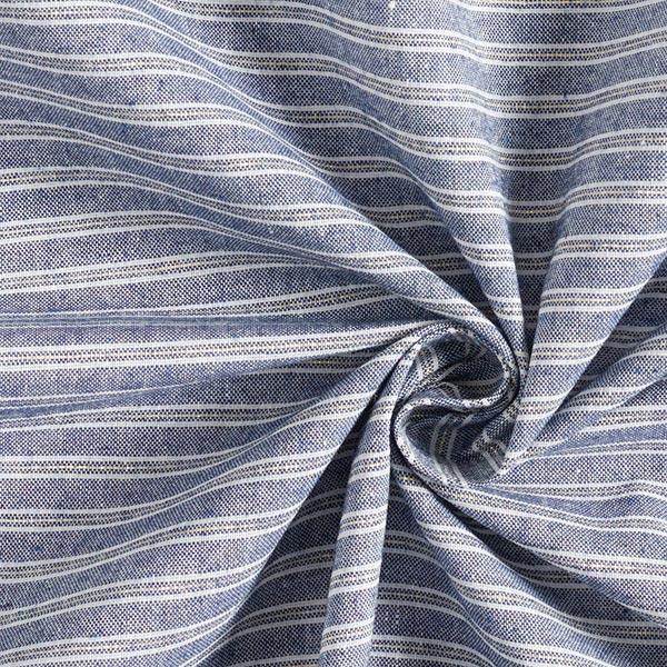 Tissu à rayures Aspect lin avec Lurex – bleu marine