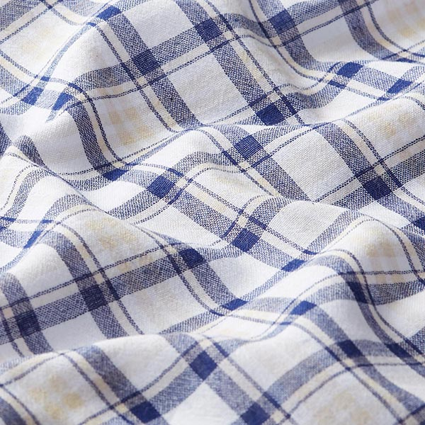 Popeline coton Tissu à carreaux structuré – bleu marine/beige