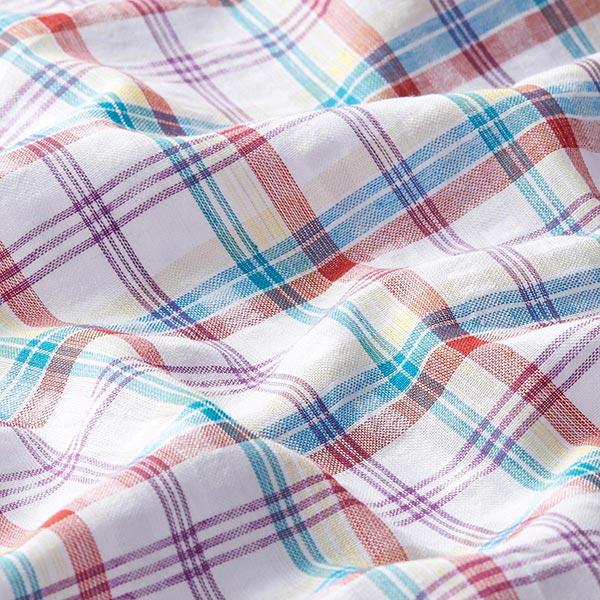 Tissu pour chemisier Seersucker Carreaux – rouge rouille/turquoise