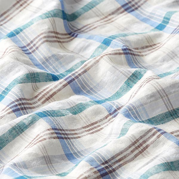 Tissu pour chemisier Seersucker Carreaux – bleu/crème