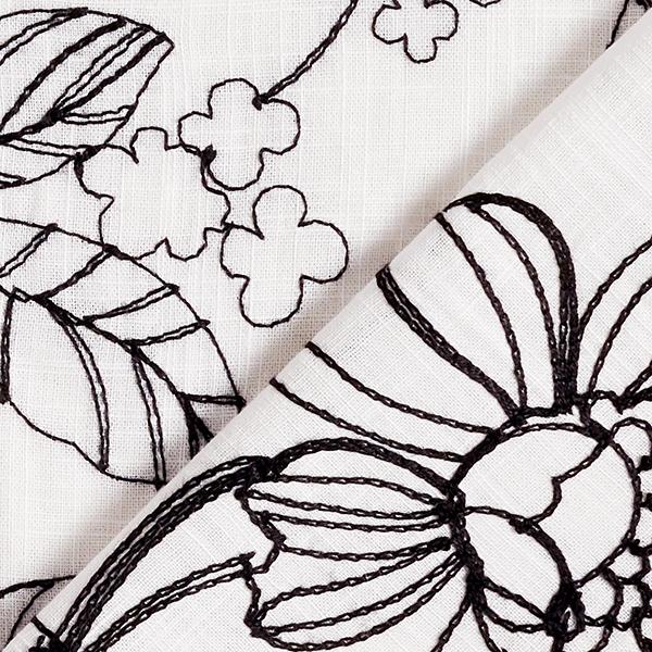 Tissu pour chemisier Coton Aspect lin  Broderie florale – écru/noir