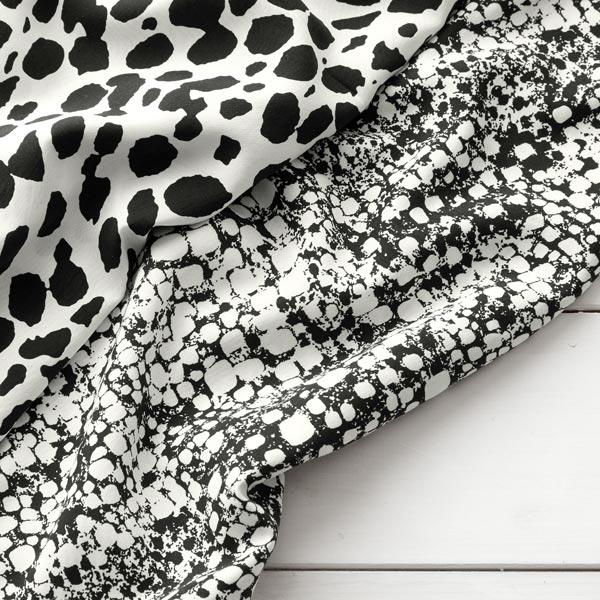 Tissu de chemisier Viscose Imprimé serpent – noir/écru