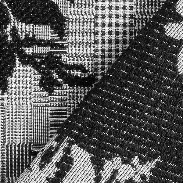 Tissu jacquard Carreaux & Roses – gris