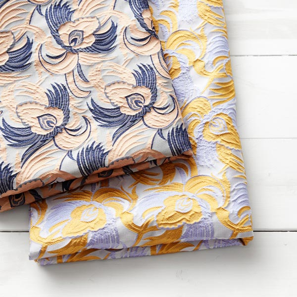 Tissu jacquard Motif floral – argent/beige