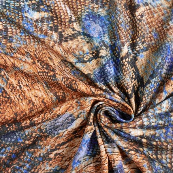 Viskosejersey Schlange digital – blau