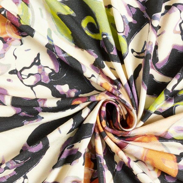 Jersey viscose Abstrait numérique – jaune clair