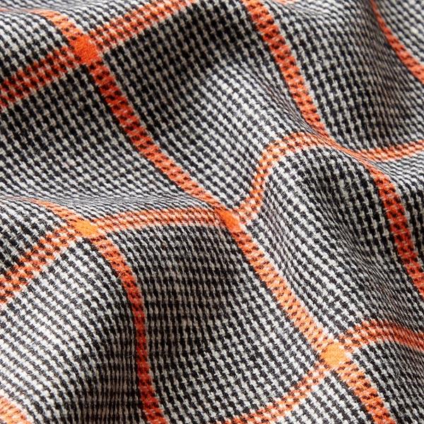 Tissu de manteau Carreaux 4 x 6 cm – noir/orange