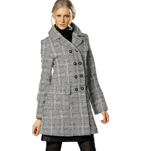 Tissu de manteau Glencheck doux – noir/blanc