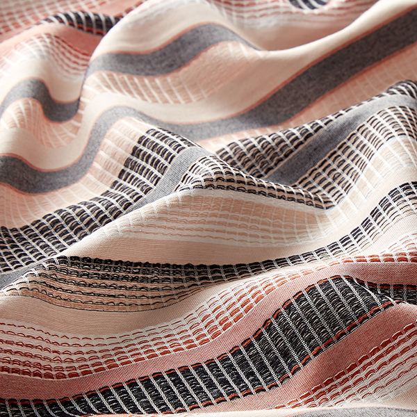 Tissu de chemisier Viscose Rayures horizontales – saumon