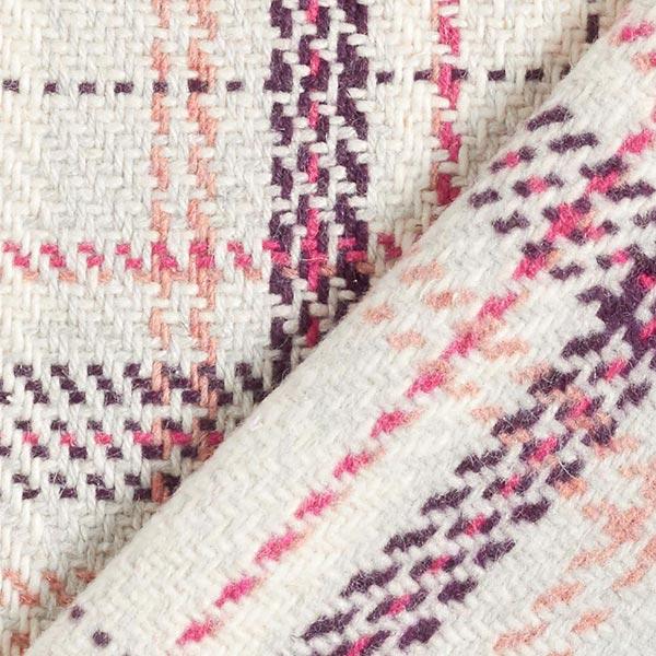 Tissu pour manteau Mélange laine vierge Carreaux – crème/rose vif