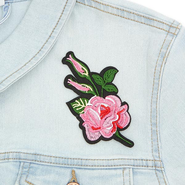 Applikation  Rose (5,5 x 11,2 cm) – altrosa