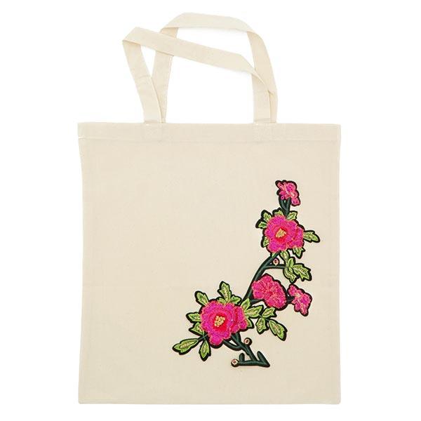Patch Rinceau de fleurs (15,6 x 30,3cm) – rose vif