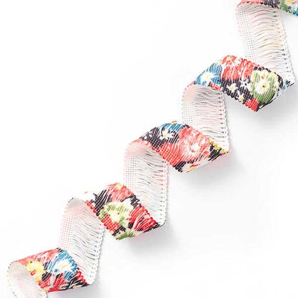 Ruban à franges Fleurs [30 mm] – noir/rouge