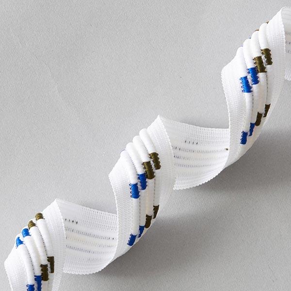 Ruban décoratif Rétro [25 mm] – blanc/bleu