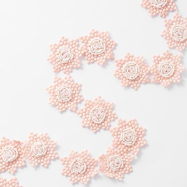 Ruban dentelle Fleurs [45 mm] – rose/blanc