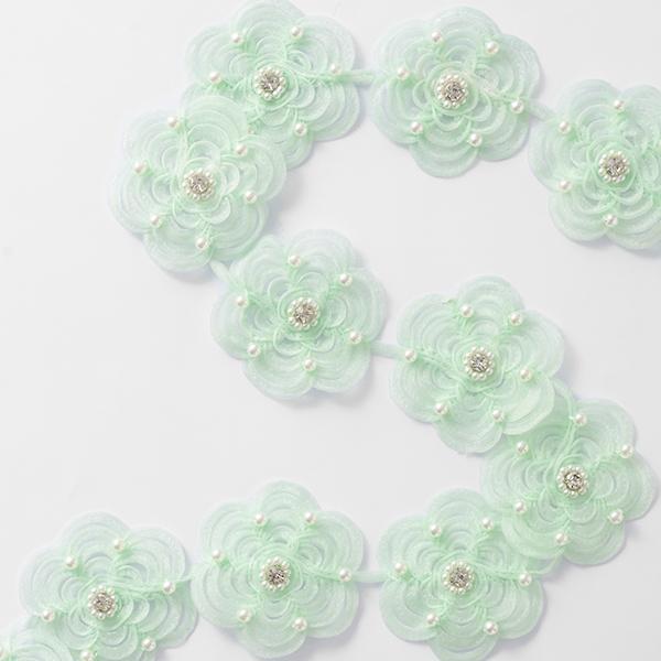 Ruban organza Fleurs [60 mm] – vert menthe