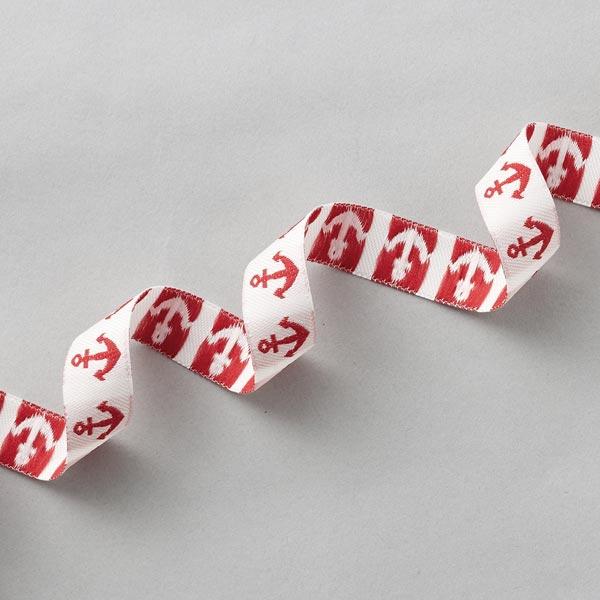 Ruban décoratif Ancre [16 mm] – blanc/rouge
