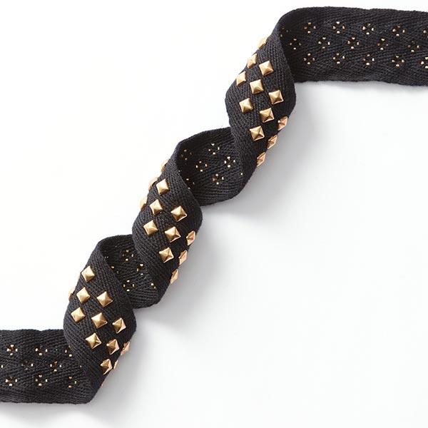Ruban tissé avec rivets – noir/or