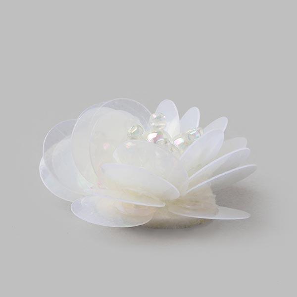 Application Fleur paillettes - blanc cassé