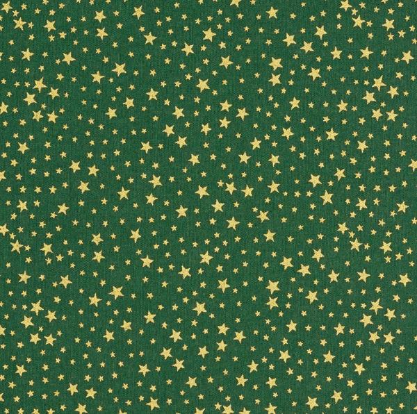 Baumwollstoff Cretonne weihnachtlicher Sternenhimmel klein – dunkelgrün/gold