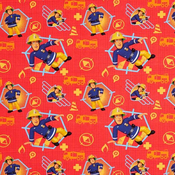 Baumwolljersey Feuerwehrmann Sam – rot