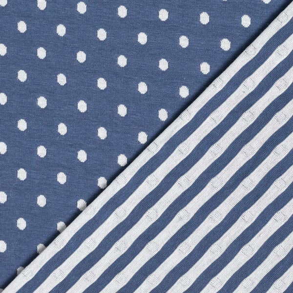 Jersey double face Points & Rayures – bleu jean/écru