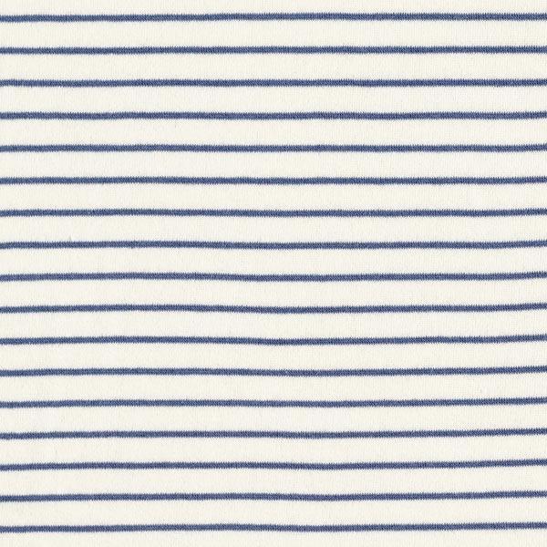 Jersey éponge Rayures – écru/bleu jean
