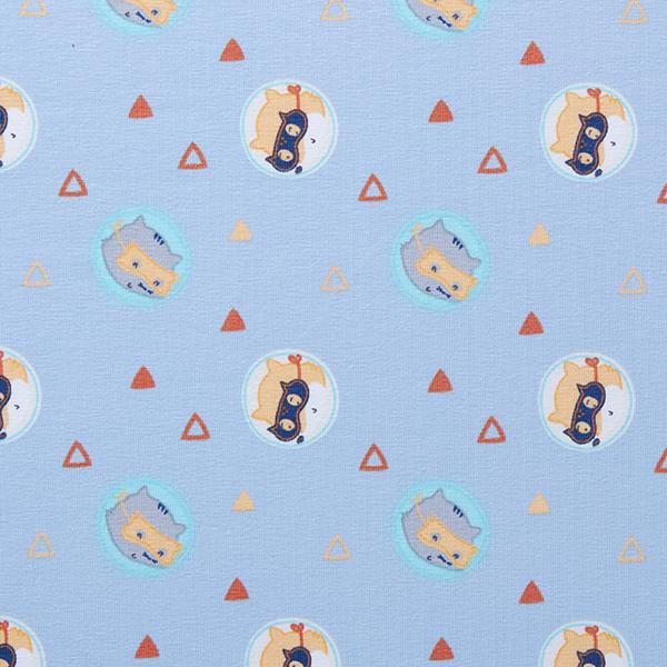 Jersey coton Adorables animaux de la forêt masqués – bleu clair