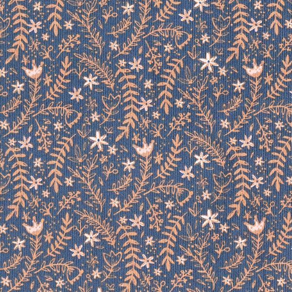 Cord Stoff Blumen und Zweige – navy/terracotta
