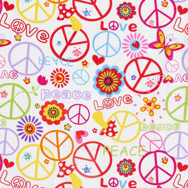 Tissu carnaval Motif hippie Love & Peace – blanc