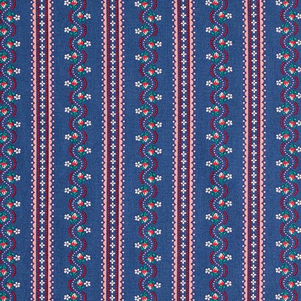 Baumwollstoff Popeline Trachten Blumenranken – marineblau